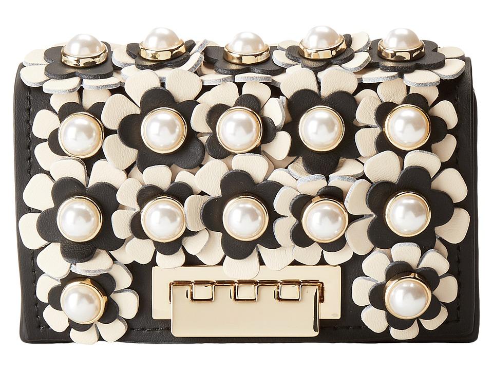 ZAC Zac Posen - Earthette Card Case - Floral Applique (Black) Wallet Handbags