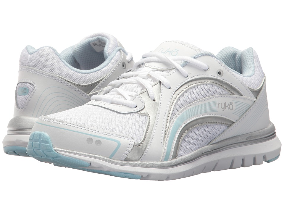 Ryka Aries (White/Soft Blue/Chrome Silver) Women's Shoes