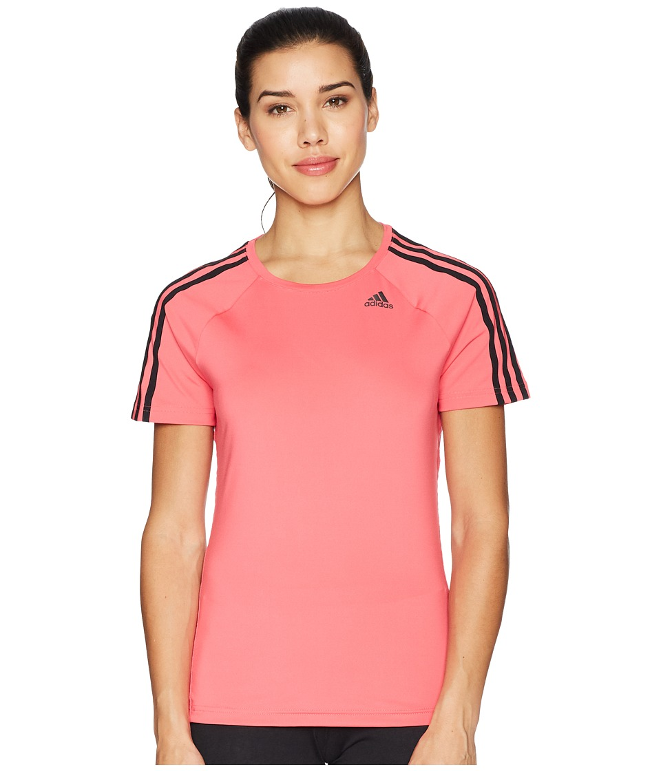 adidas D2M 3-Stripes Tee (Real Pink) Women