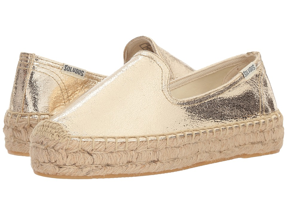 Soludos Platform Metallic Smoking Slipper (Pale Gold) Women