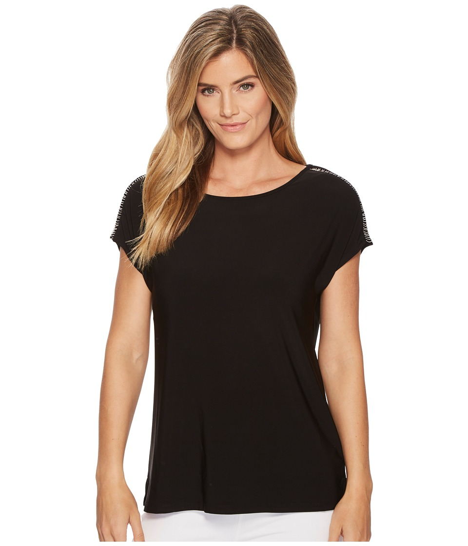 Tribal Pack and Go Travel Jersey Cap Sleeve Top with Chain Detail (Black) Women