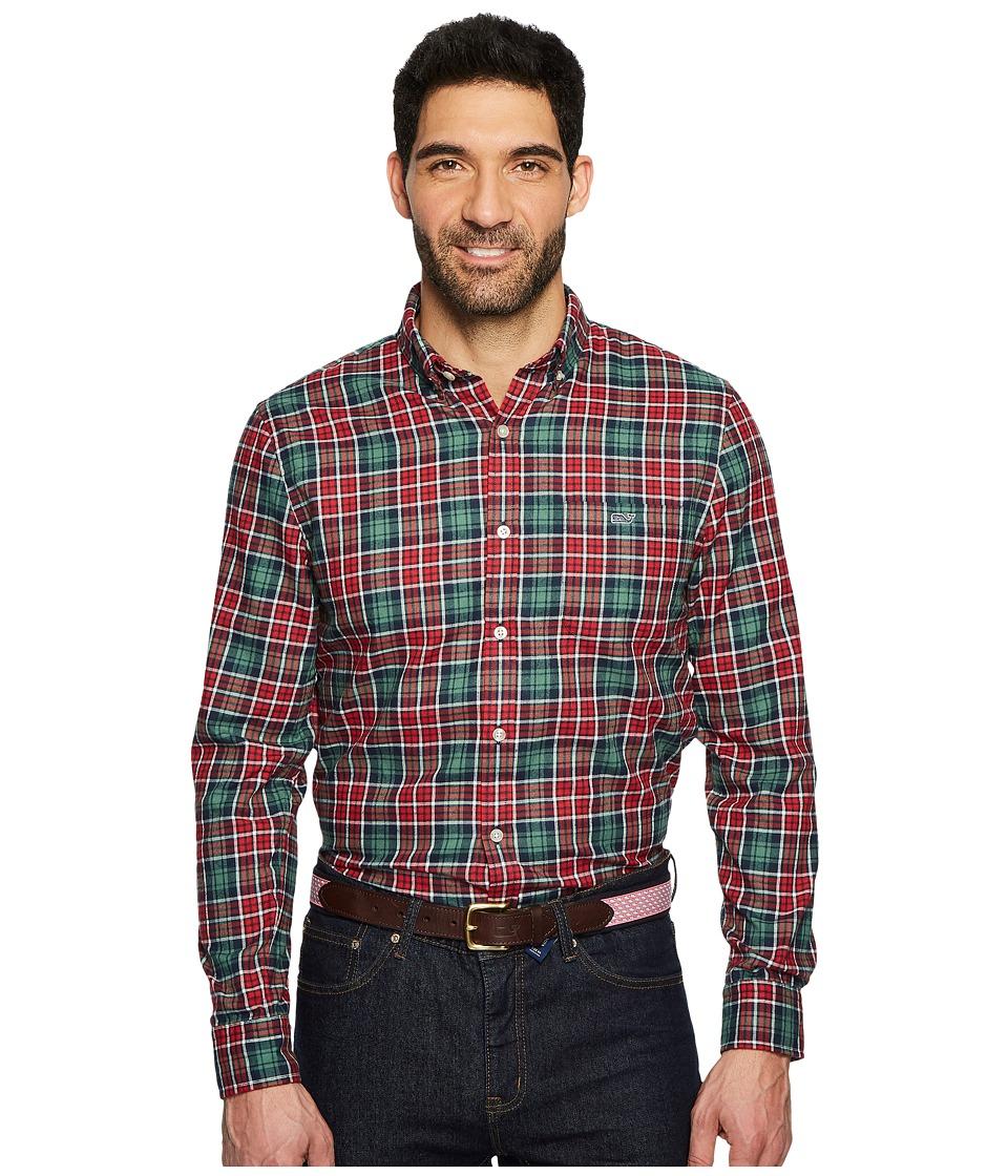 Vineyard Vines Bold Point Slim Performance Flannel Tucker Shirt (Charleston Green) Men