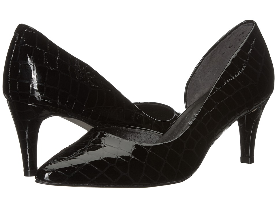 Walking Cradles - Surge (Black Lagart Croc Patent Leather) Women's Shoes