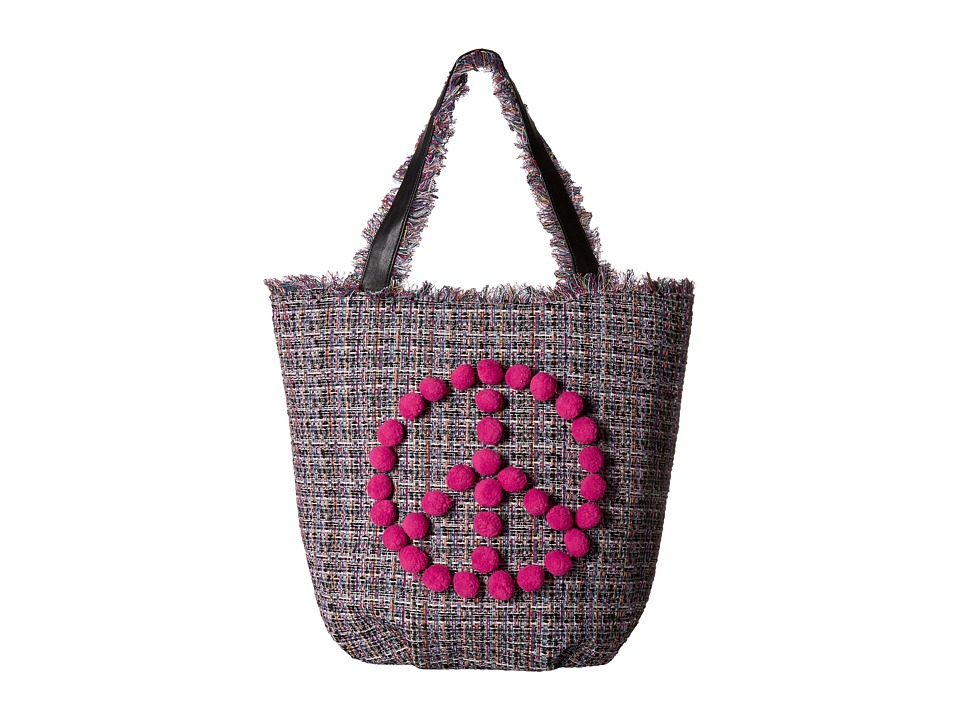 Circus by Sam Edelman - Farah Peace Pom Pom Tote (Black Multi Woven/Pink Peace) Tote Handbags