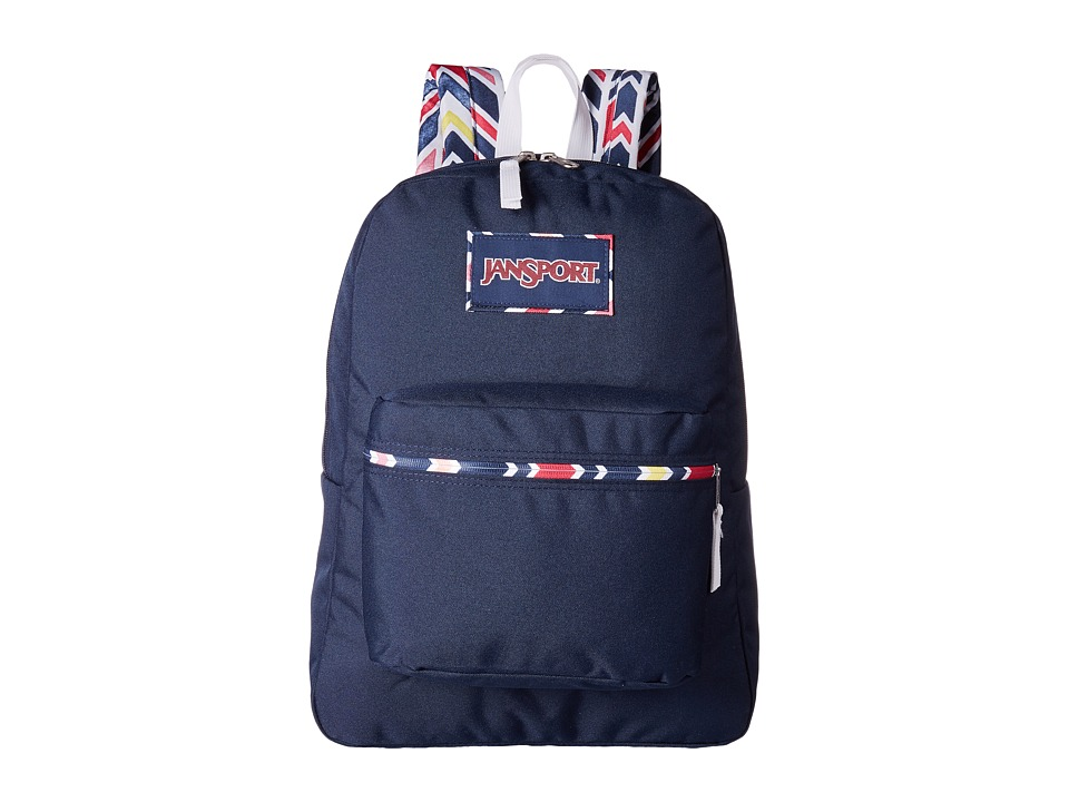 JanSport - High Stakes (Navy Watercolor Chevron) Backpack Bags