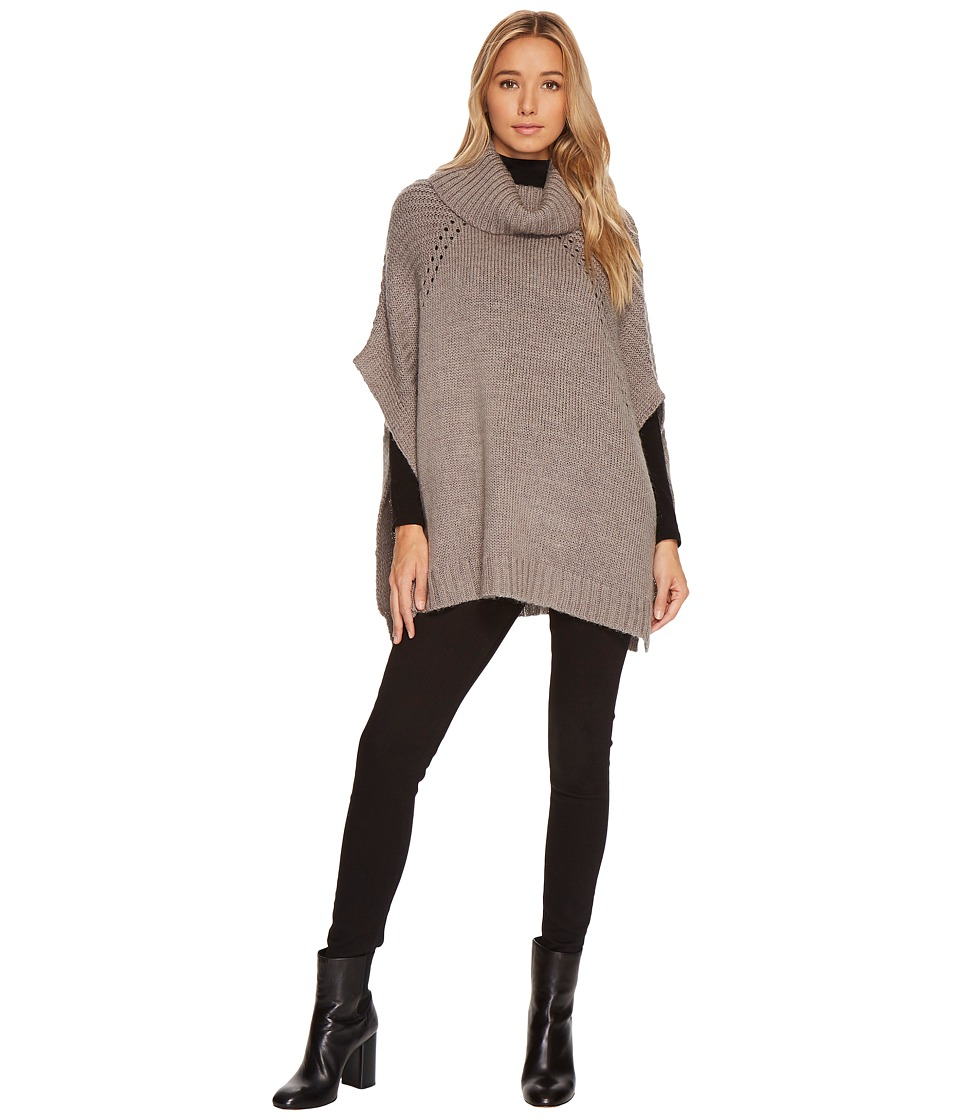 LAmade - Sage Soft Turtle Poncho (Heather Grey) Women's Coat