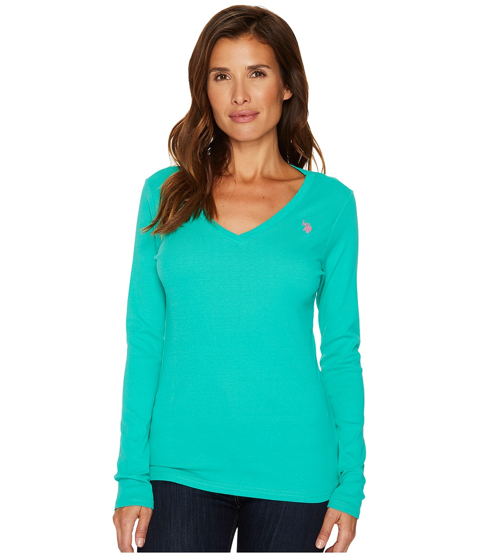 U.S. POLO ASSN. - Rib V-Neck T-Shirt (Peacock Green) Women's T Shirt