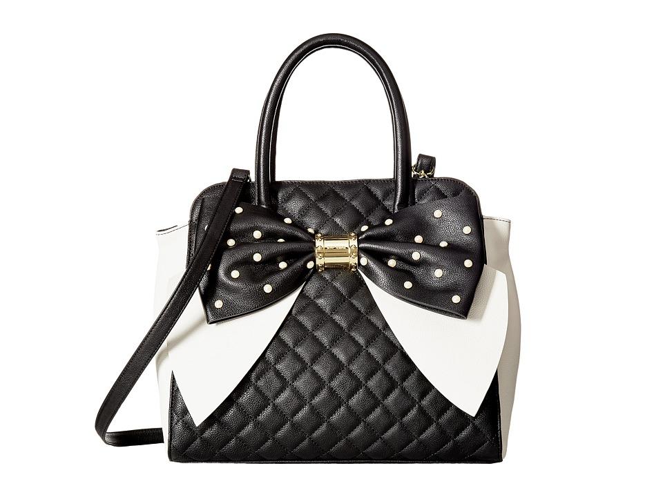 Betsey Johnson - Oversized Bow Satchel (Black) Satchel Handbags