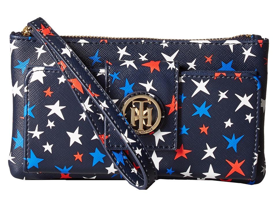Tommy Hilfiger - TH Serif Signature Front Snap (Navy/Multi) Wallet Handbags