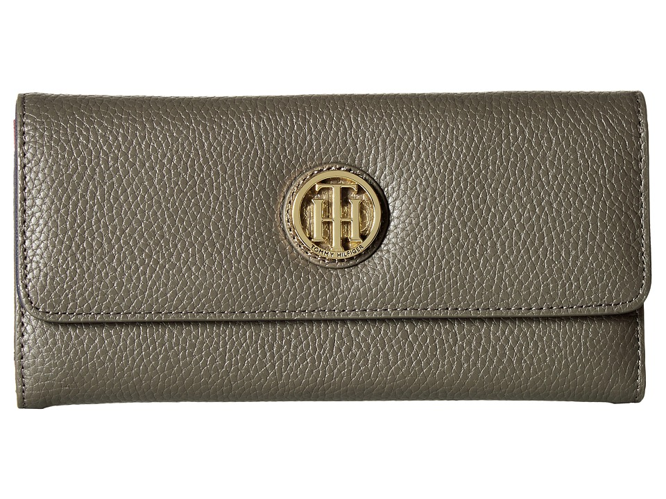 Tommy Hilfiger - TH Serif Signature Large Flap Wallet (Mushroom) Wallet Handbags