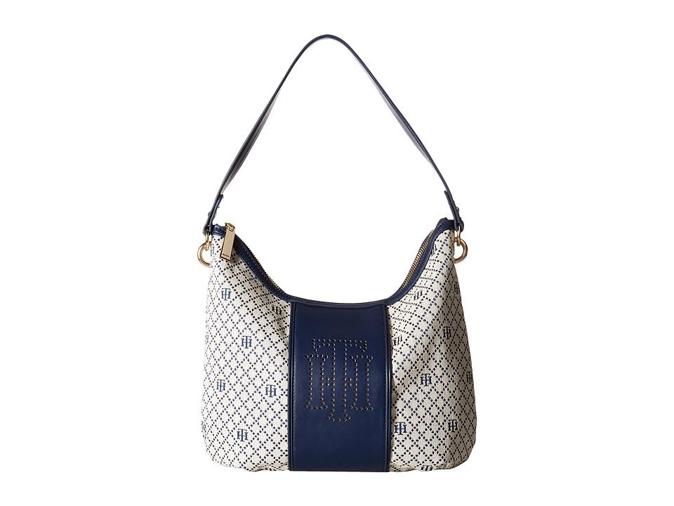 Tommy Hilfiger - Alesha Hobo Diamond Jacquard (Navy Natural) Hobo Handbags