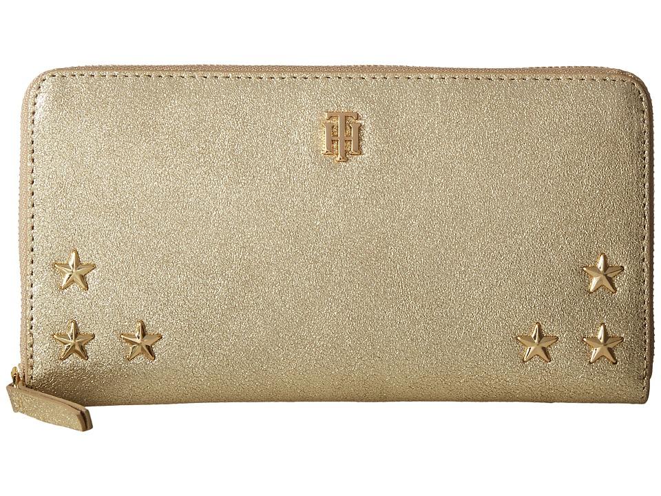 Tommy Hilfiger - Serif Stars Large Zip Around (Metallic Gold) Wallet Handbags