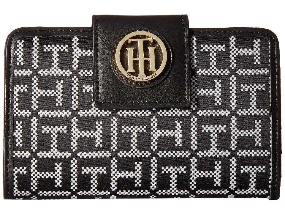 Tommy Hilfiger - TH Serif Signature Medium Snap Flap (Black/White) Wallet Handbags