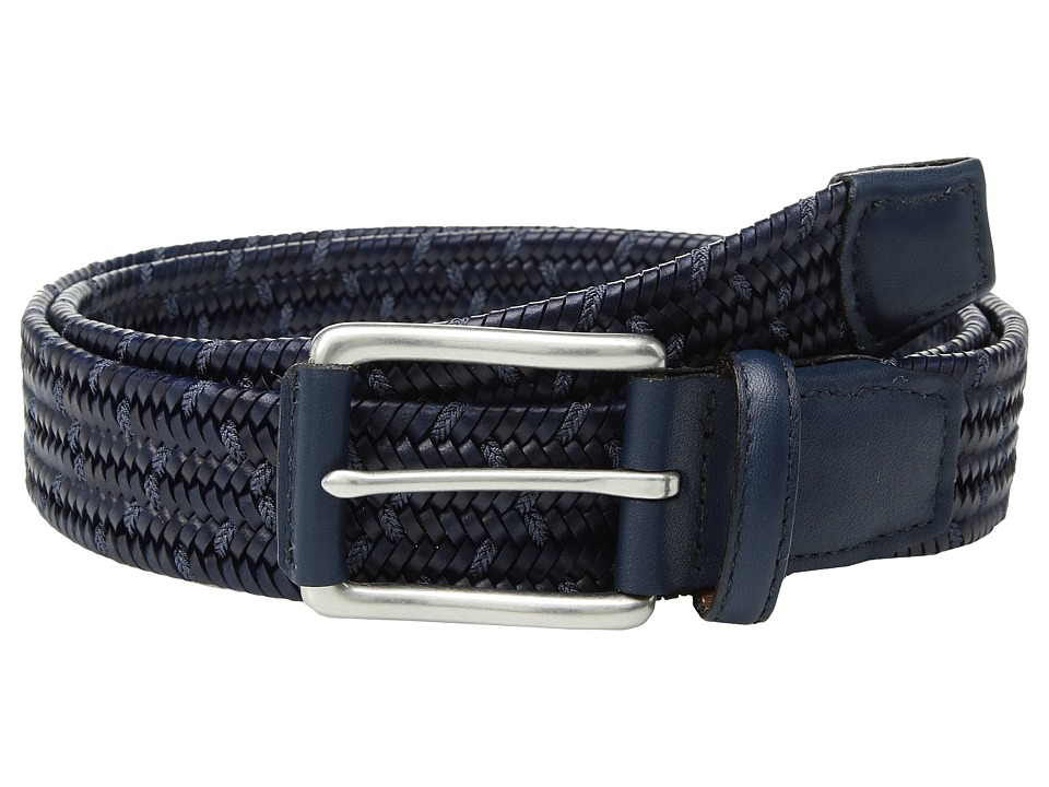 Torino Leather Co. 35mm Italian Woven Leather Rayon Elastic (Navy/Blue) Men