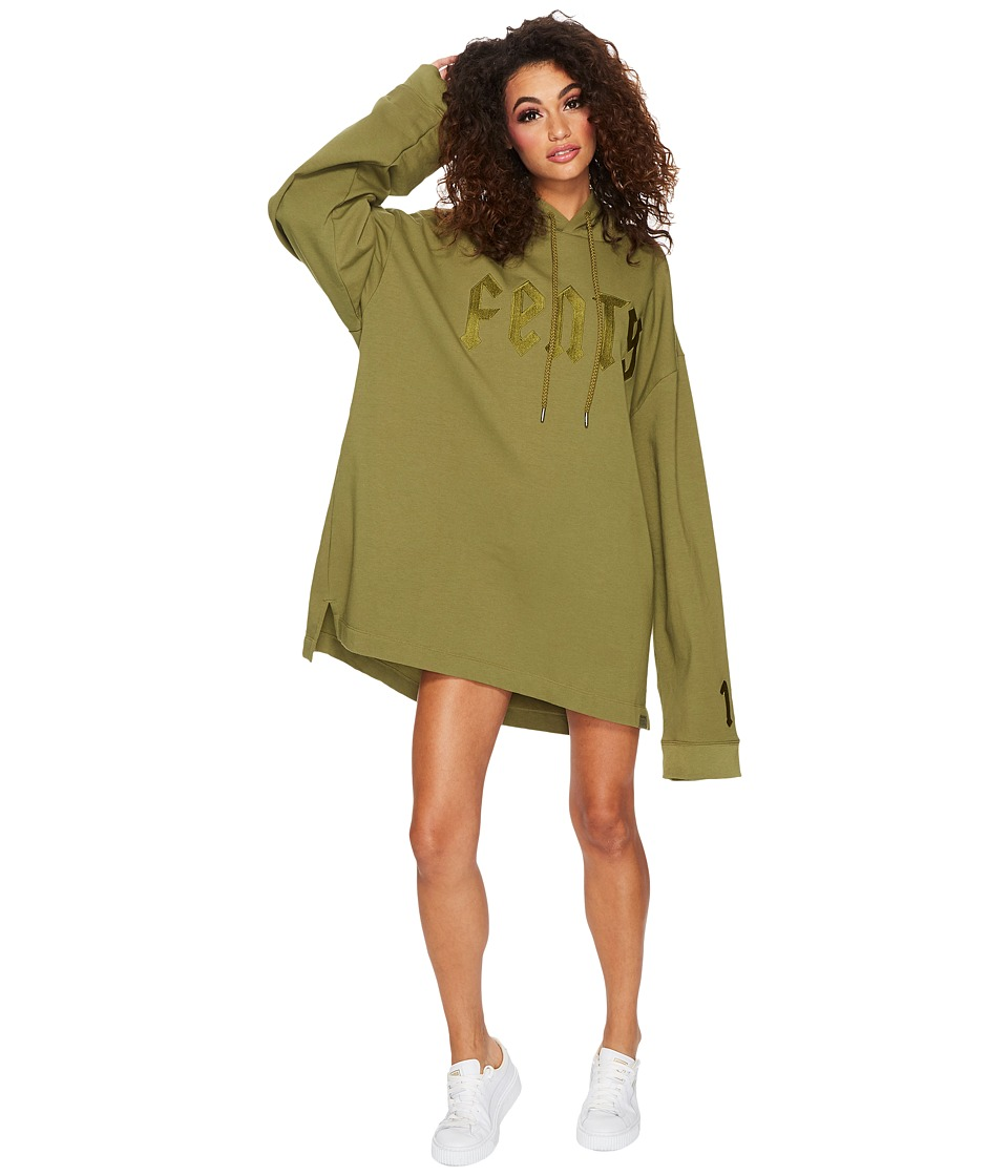 PUMA - Fenty Long Sleeve Graphic Hoodie (Olive Branch) Women's Sweatshirt