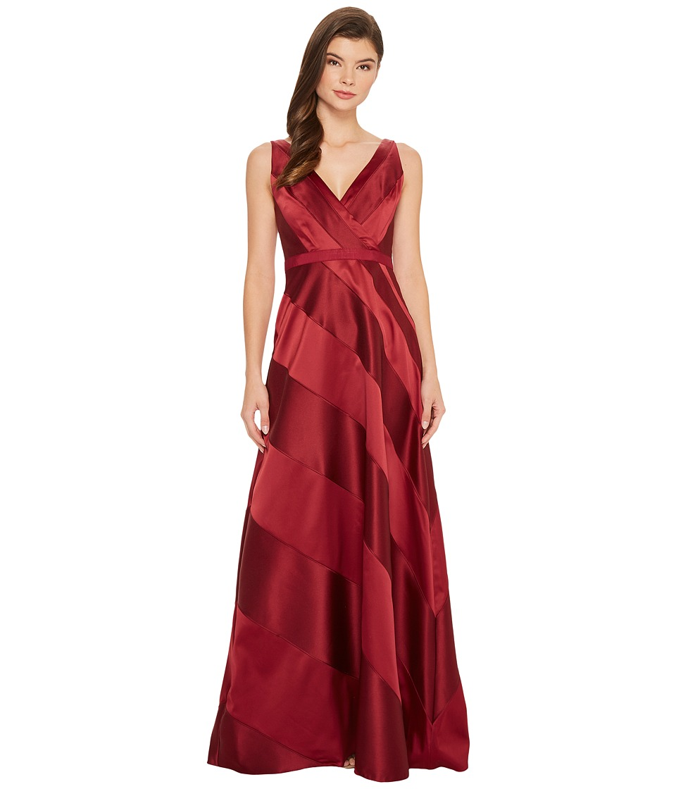 Adrianna Papell Fabric Combo Ball Gown (Cranberry) Women