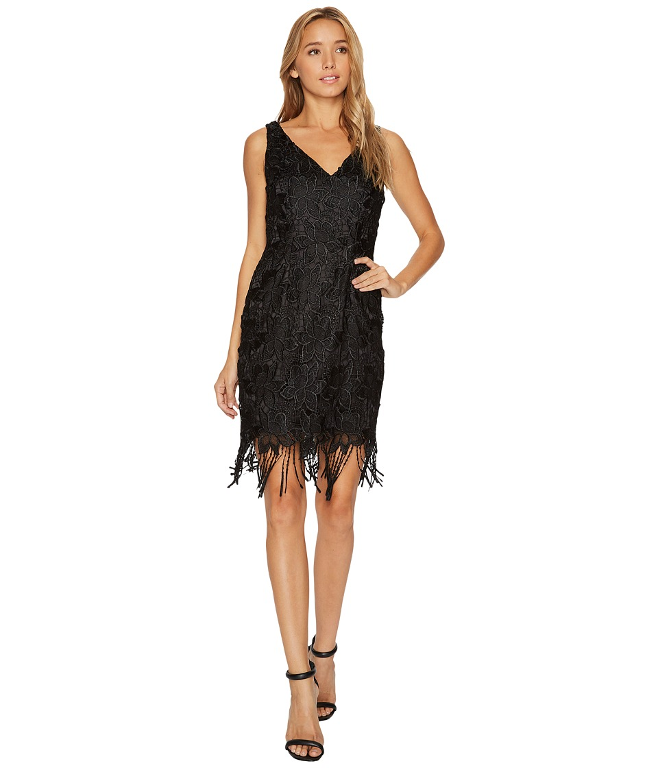Adrianna Papell Guipure Lace Cocktail Dress with Fringe Hem Line (Black) Women