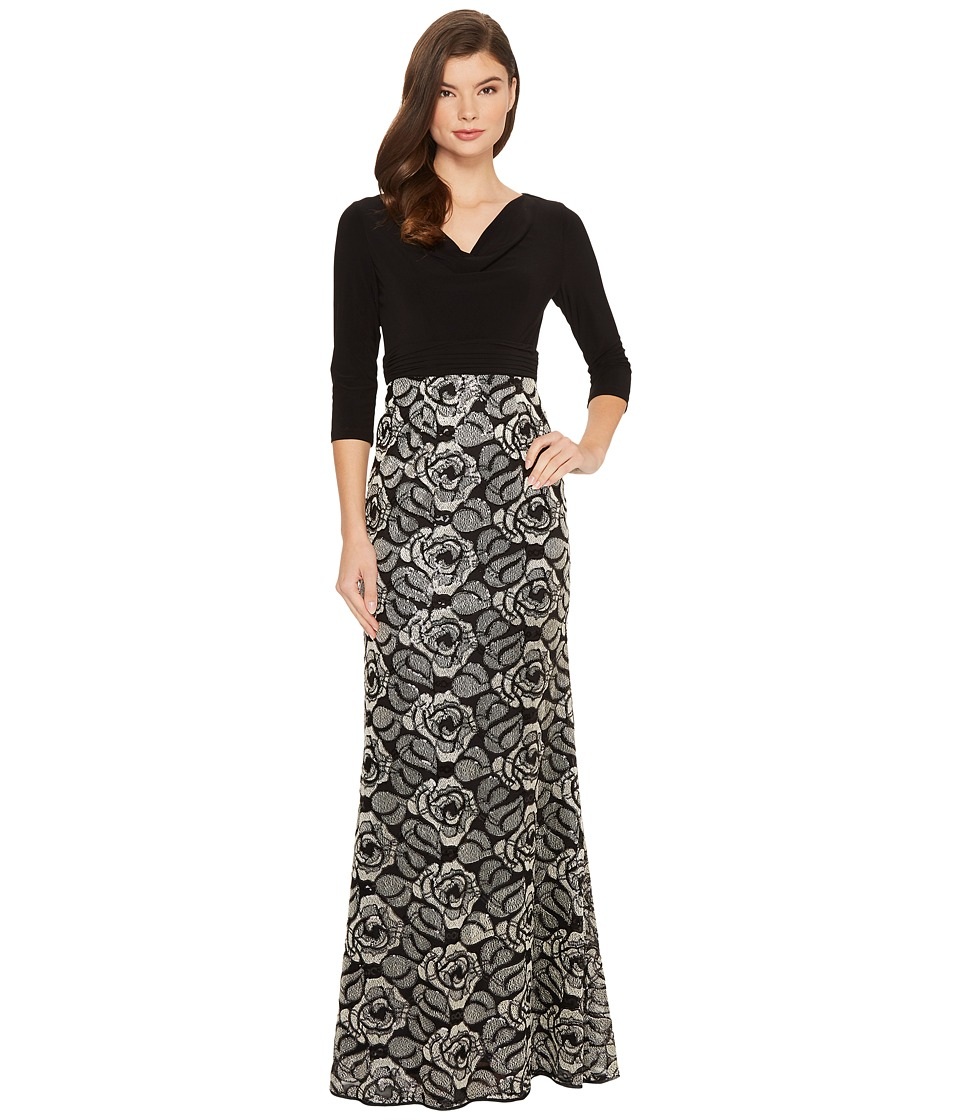 Adrianna Papell Draped Jersey Cowl Neck with Metallic Rose Embroidered Skirt Detail (Black/Gold) Women