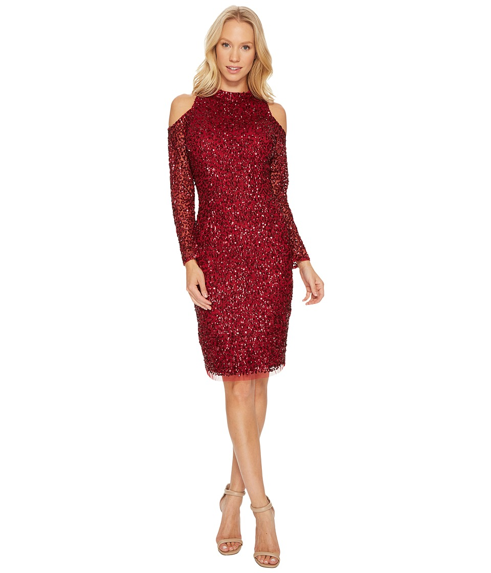 Adrianna Papell Cold Shoulder Crunchy Bead Cocktail Dress (Cranberry) Women