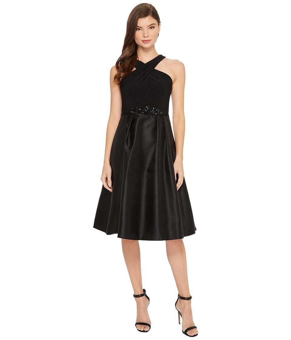 Adrianna Papell Crisscross Neck Halter Cocktail Dress (Black) Women
