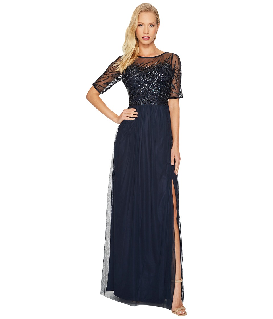 Image of Adrianna Papell - 3/4 Sleeve Beaded Bodice with Mesh Long Skirt (Midnight) Women's Clothing
