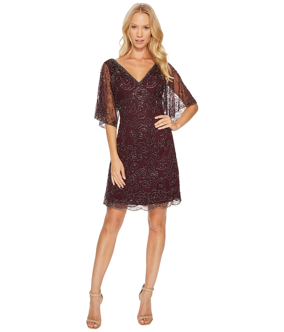 Adrianna Papell Fully Beaded Cocktail Dress with Bat Wing Sleeves (Deep Amethyst) Women