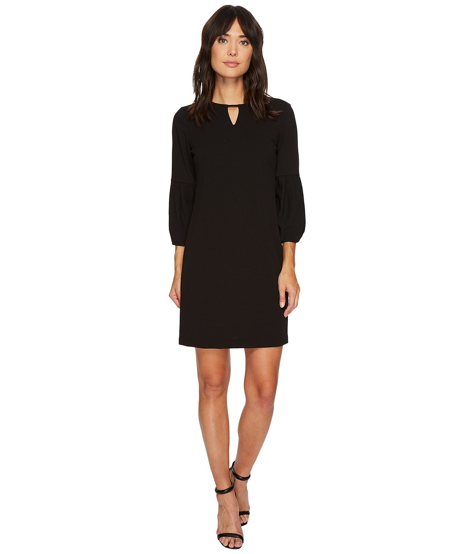 London Times - Crepe Scuba Keyhole Shift Dress (Black) Women's Dress