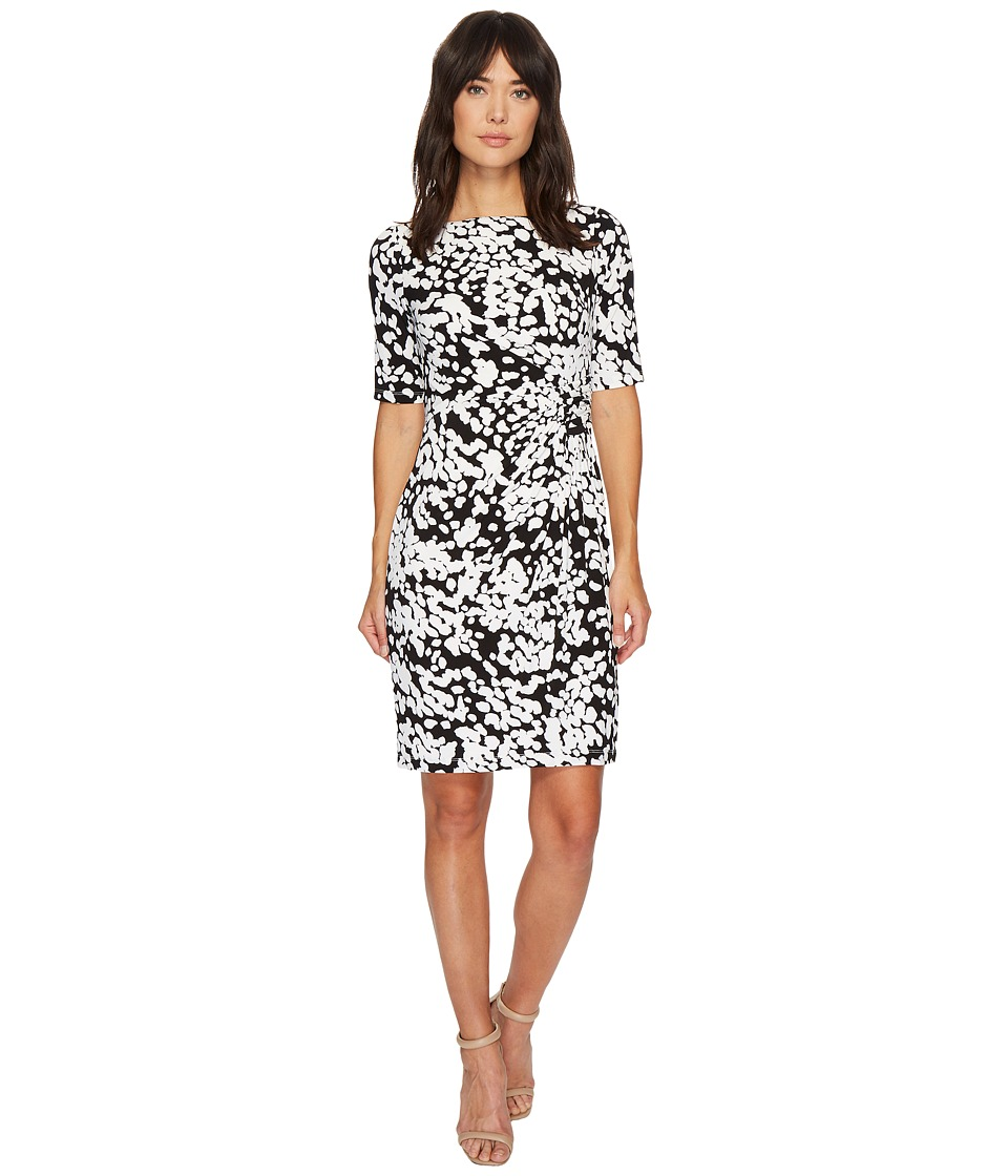 London Times - Matte Jersey Ruched Sheath Dress (Black/White) Women's Dress