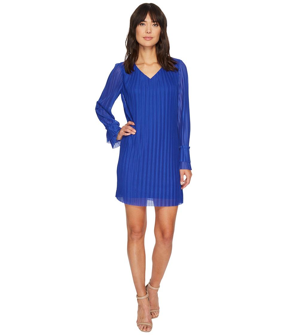 London Times - Crystal Pleat V-Neck Ruffle Sleeve Dress (Blue) Women's Dress