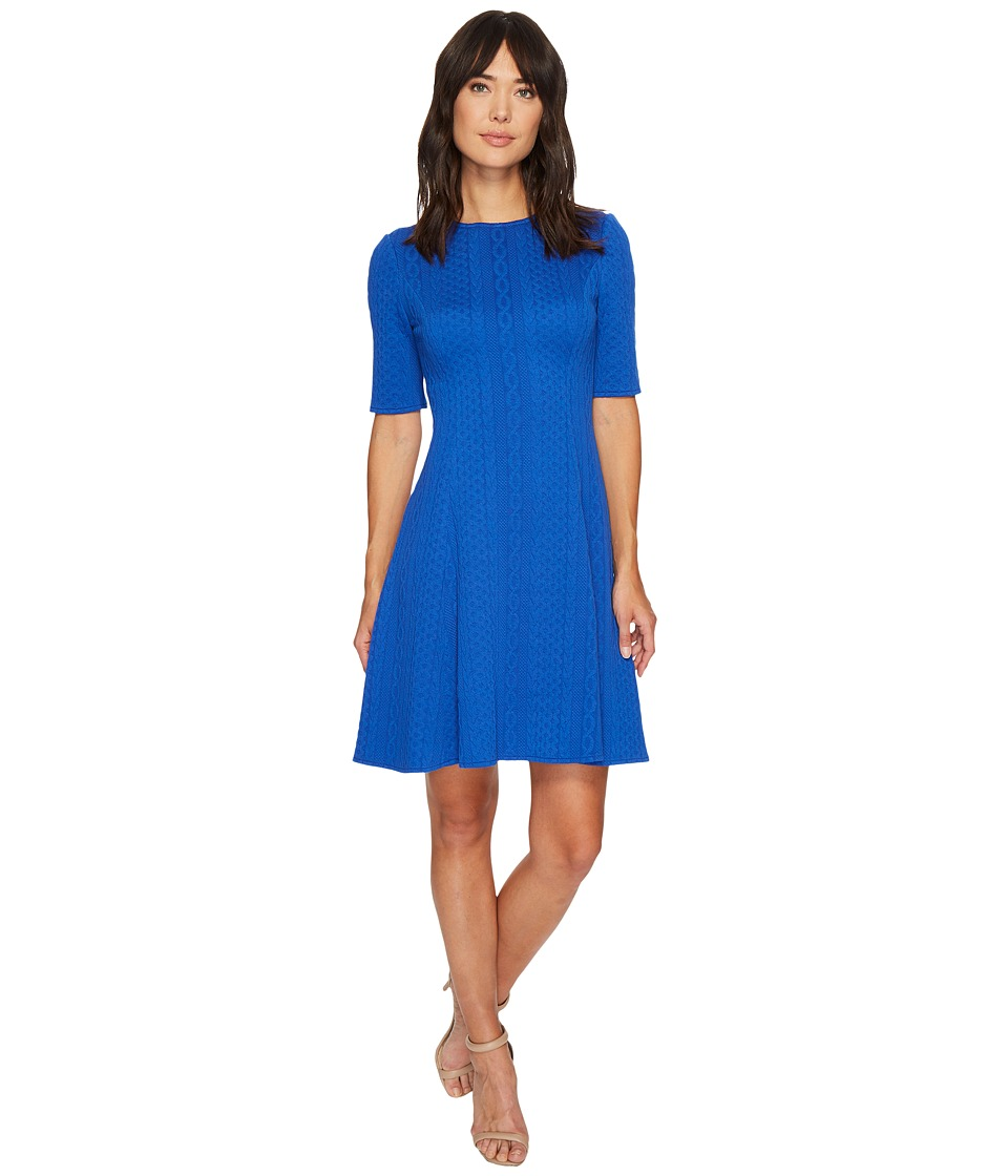 London Times Cable Stripe Elbow Sleeve Fit Flare Dress (Cobalt) Women