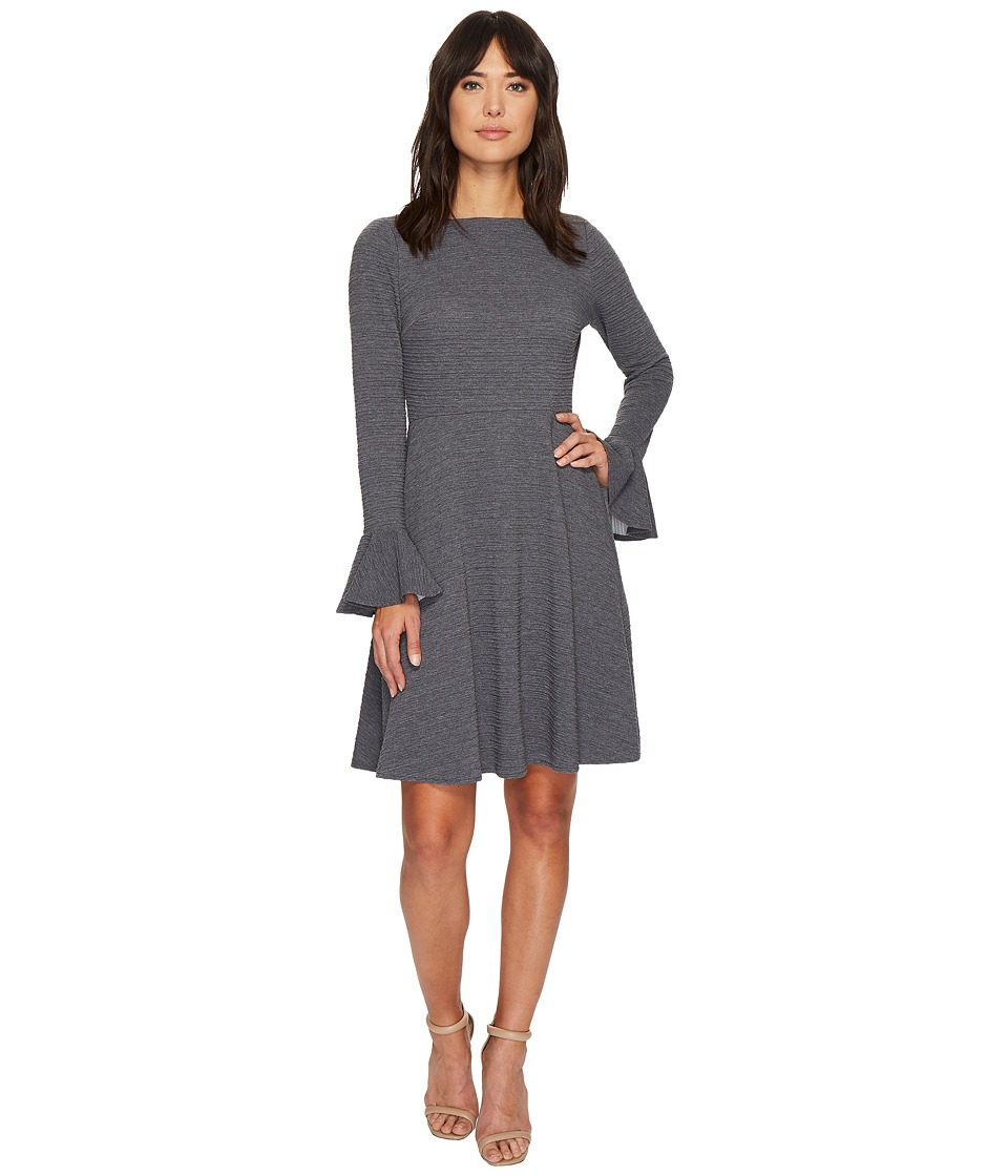London Times - Heather Ottoman Bell Sleve Full Skirt Dress (Grey) Women's Dress