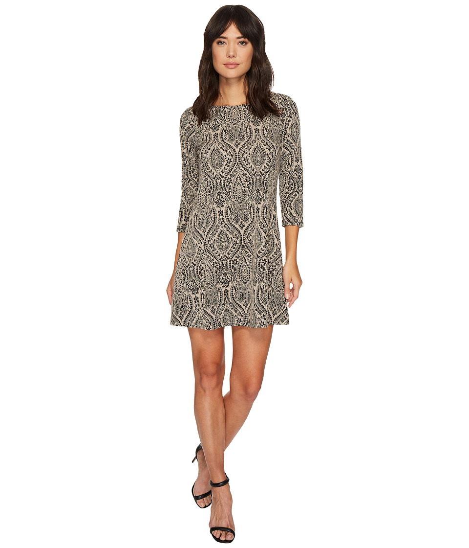 London Times - Paisley Orb Jacquard 3/4 Sleeve Dress (Taupe) Women's Dress
