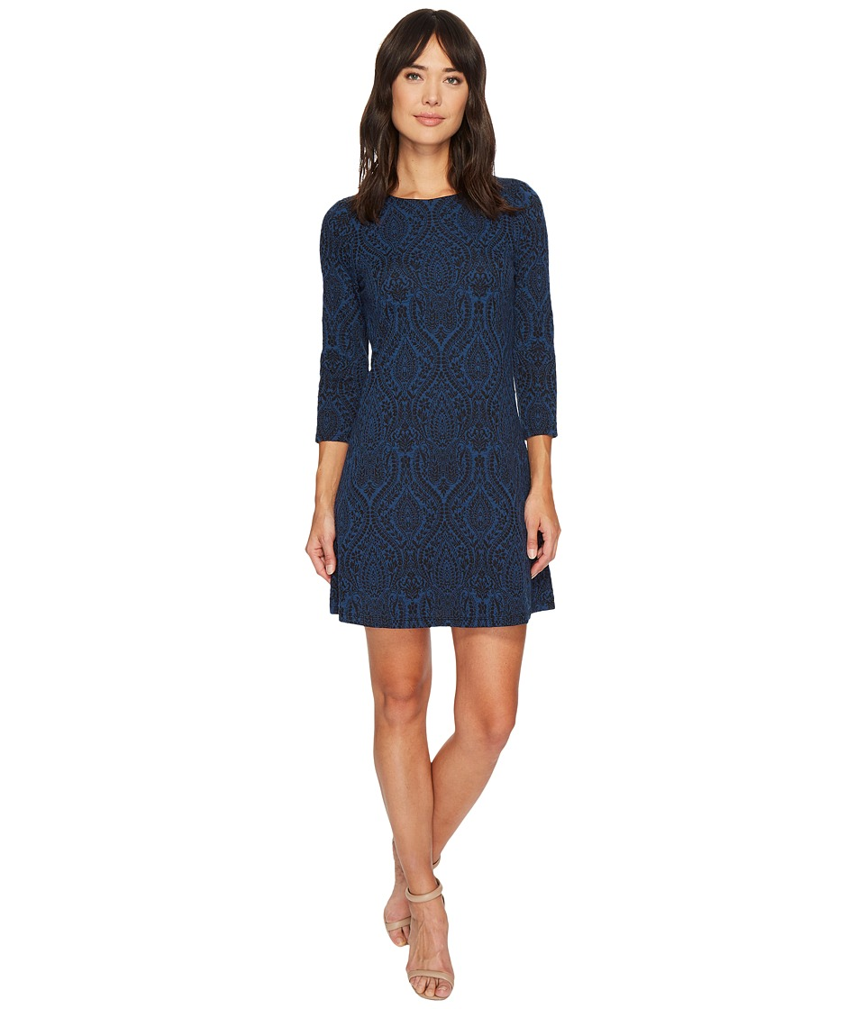 London Times - Paisley Orb Jacquard 3/4 Sleeve Dress (Blue) Women's Dress