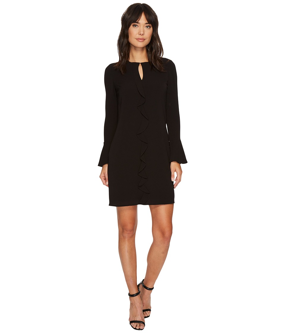 London Times Catalina Crepe Ruffle Front Sheath Dress (Black) Women