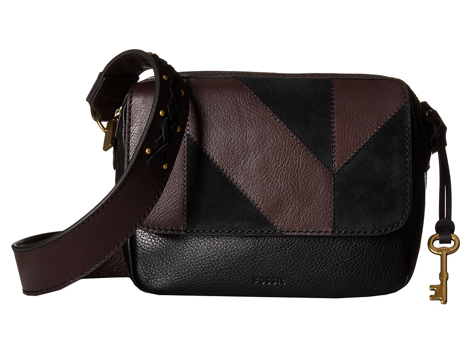 Fossil - Aria Small Crossbody (Black Patchwork) Cross Body Handbags