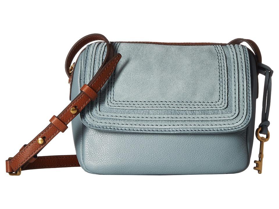 Fossil - Aria Embossed Crossbody (Steel Blue) Cross Body Handbags