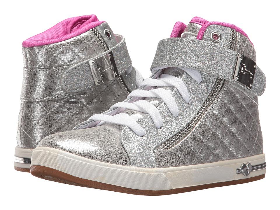 SKECHERS KIDS - Shoutouts 84308L (Little Kid/Big Kid) (Silver/Hot Pink) Girl's Shoes