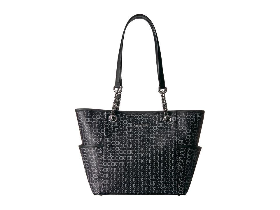 Calvin Klein - Monogram Chain Tote (Black/Silver) Tote Handbags