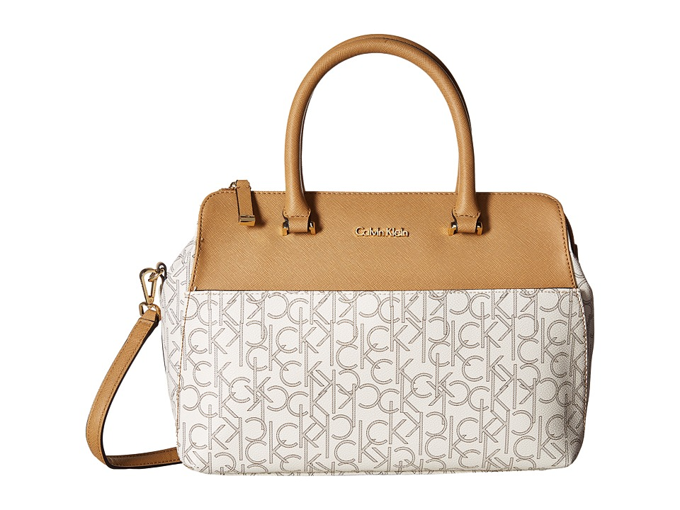Calvin Klein - CK Monogram Satchel (Almond/Khaki/Cashew) Satchel Handbags