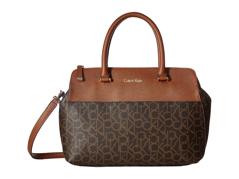 Calvin Klein - CK Monogram Satchel (Brown/Khaki/Luggage) Satchel Handbags