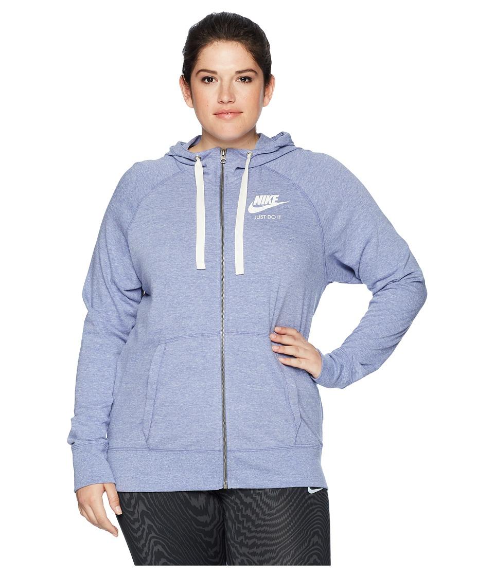 Nike NSW Gym Vintage Full Zip Hoodie (Size 1X-3X) (Purple Slate/Sail) Women