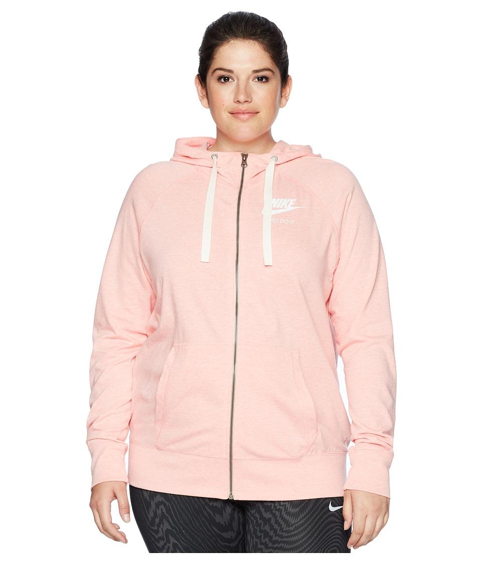 Nike NSW Gym Vintage Full Zip Hoodie (Size 1X-3X) (Bleached Coral/Sail) Women