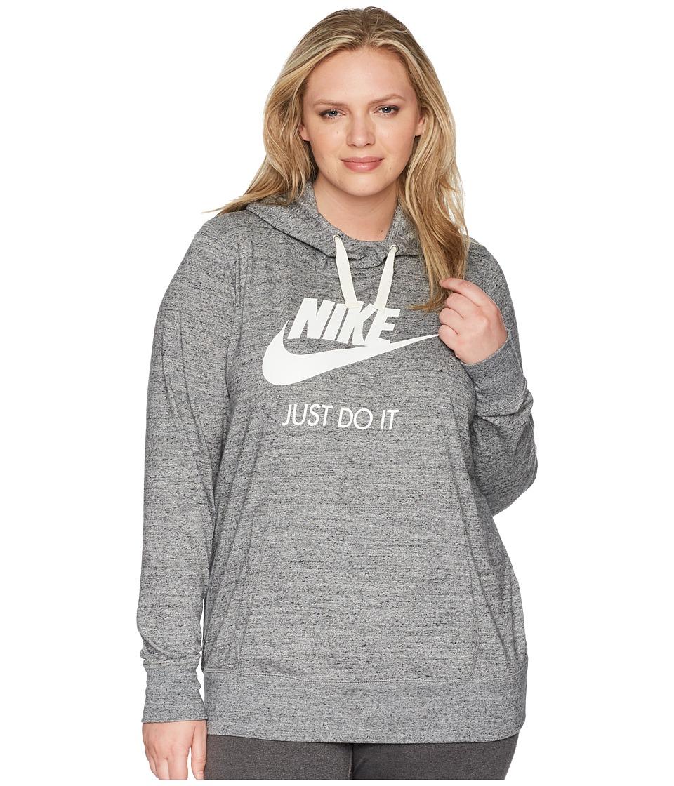 Nike NSW Gym Vintage Pullover Hoodie (Size 1X-3X) (Carbon Heather/Sail) Women