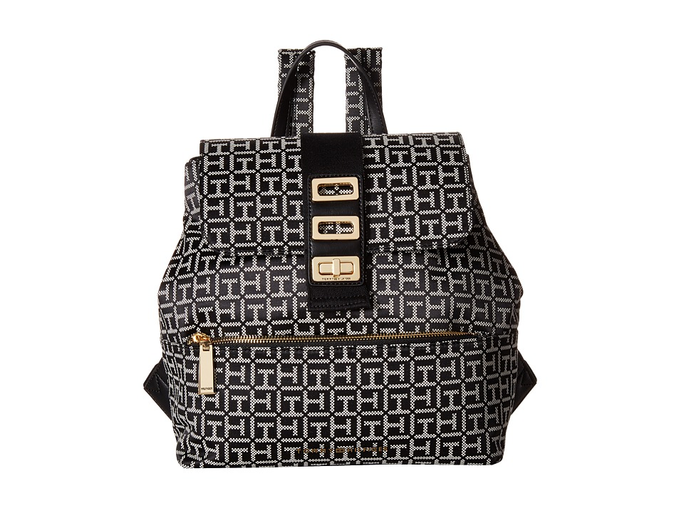 Tommy Hilfiger Tripple Compartment Backpack (Black/White) Backpack Bags