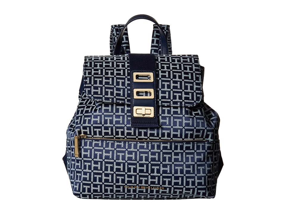 Tommy Hilfiger Tripple Compartment Backpack (Navy/White) Backpack Bags