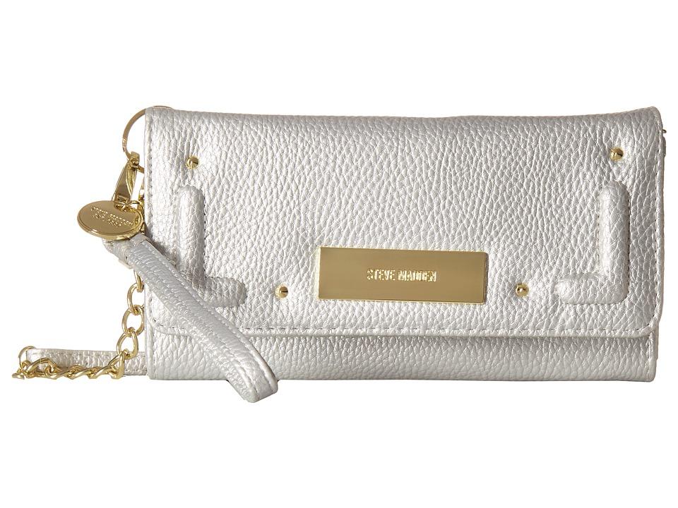 Steve Madden Tech Wallet on A String (Silver) Wallet Handbags