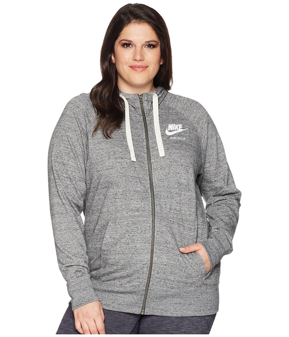 Nike NSW Gym Vintage Full Zip Hoodie (Size 1X-3X) (Carbon Heather/Sail) Women