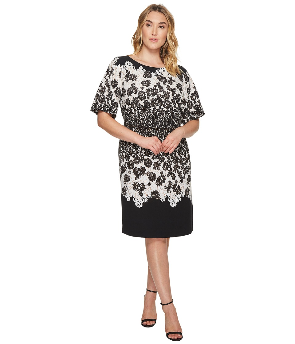 Adrianna Papell Plus Size Fluttering Lace Print Fit and Flare with Elbow  Length Sleeves (Black