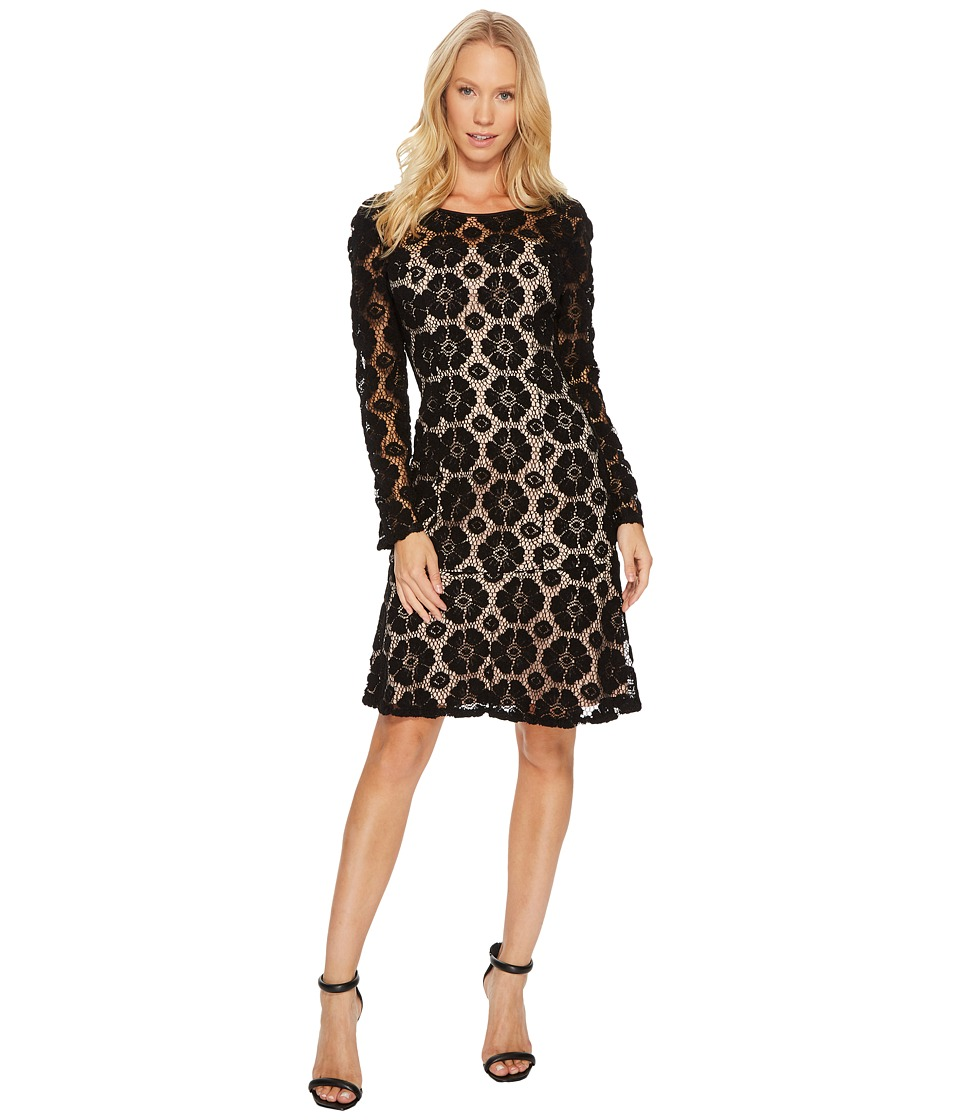 Adrianna Papell Textural Floral and Dot Lace Sheath Dress with Flounce Hem (Black/Pale Pink) Women