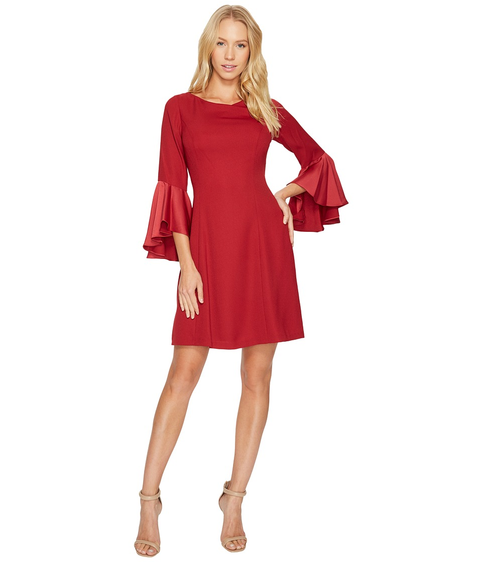 Adrianna Papell Crepe Back Satin Ruffle Sleeve Dress (Matador Red) Women